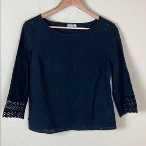 Gap black eyelet and lace embroidered swing top xs